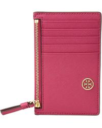Tory Burch - Robinson Slim Card Case (black 1) Credit Card Wallet - Lyst