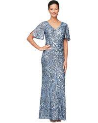 Alex Evenings Long V-neck A-line Dress With Cold Shoulder Flutter Sleeves - Blue
