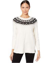 Vince Camuto Plus Size Fair Isle Knit Pullover Sweater - White