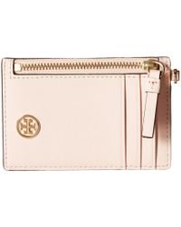 Tory Burch - Robinson Lanyard (pale Apricot/royal Navy) Wallet - Lyst