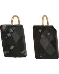 ALEX AND ANI Snowflake Obsidian Gemstone Earrings - Metallic