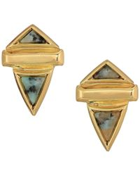 House of Harlow 1960 - Pyramid Stone Small Earrings (gold/kiwi) Earring - Lyst