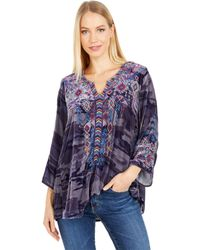 Johnny Was Ruah Velvet Flutter Sleeve Top - Gray