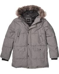 DKNY Sean Quilted Parka Jacket With Removable Faux Fur Hood - Gray