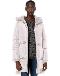 BCBGeneration Boxed Quilt Zip Front A-line Puffer Coat - White