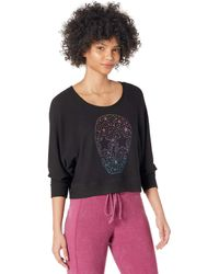 Chaser Sparkle Skull Cozy Knit Sweatshirt Clothing - Black