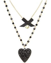Betsey Johnson - Iconic Glitter Heart Two-row Necklace - Lyst