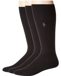 Polo Ralph Lauren - 3-pack Supersoft Rib (brown Assorted) Men's Crew Cut Socks Shoes - Lyst