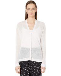 Eileen Fisher - Fine Organic Linen Crepe Knit V-neck Cardigan - Lyst