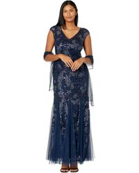 Alex Evenings Long Embroidered Fit-and-flare Dress With Godet Detail Skirt And Shawl - Blue