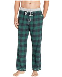True Grit Melange Buffalo Check Flannel Pajama Pants With Heather Trim (green) Pajama