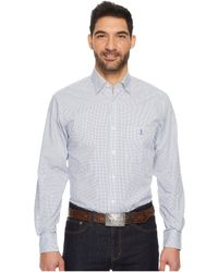 Lucchese - San Antonio (blue/white Check) Men's Long Sleeve Button Up - Lyst