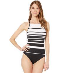 Lauren by Ralph Lauren Gradient Stripe Shaping High Neck Mio One-piece - Black