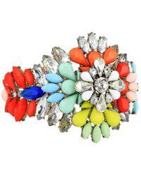 Steve Madden - Floral Jeweled Cuff Bangle - Lyst