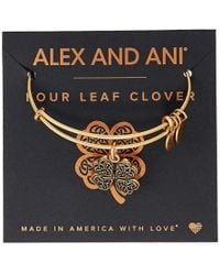 ALEX AND ANI - Path Of Symbols-four Leaf Clover Iv Bangle - Lyst