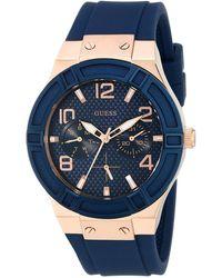 Guess - U0571l1 (blue/rose Gold) Watches - Lyst