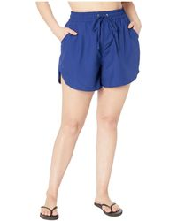 24th & Ocean Plus Size Solids Board Swim Shorts - Blue