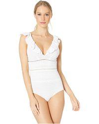 Jonathan Simkhai - Lace Ruffle V-neck One-piece (white) Women's Swimsuits One Piece - Lyst