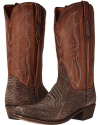 Lucchese - M3105.74 (chocolate Sanded Shark) Cowboy Boots - Lyst