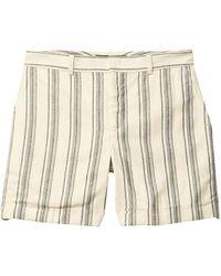 Lauren by Ralph Lauren Striped Linen Twill Shorts - Natural