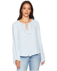 Vince Camuto - Bell Sleeve Tassel Tie Neck Blouse With Faggoting - Lyst