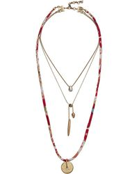 Lucky Brand - Fabric Layer Necklace (two-tone) Necklace - Lyst