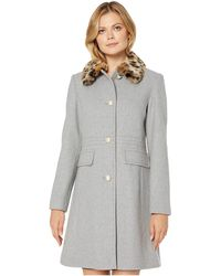 Kate Spade Leopard Print Faux Fur Collar Wool Blend Coat - Gray