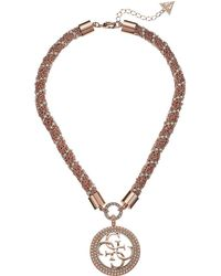 Guess - S Short Pendant Necklace W/stones - Lyst