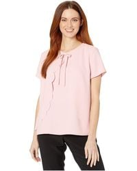 Cece Short Sleeve Scalloped Moss Crepe Blouse With Bow - Pink