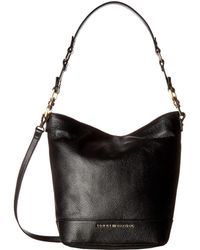 Tommy Hilfiger Maisie Pebble Leather Convertible Bucket - Black