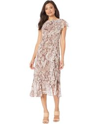 Vince Camuto Printed Chiffon Midi With Flutter Sleeve And Ruffle Skirt - Brown