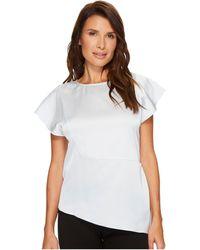 Ivanka Trump Ruffle Cap Sleeve Woven Asymmetrical Hem Blouse - White