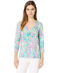 Lilly Pulitzer - Etta 3/4 Sleeve Top (multi Bohemian Queen Small) Women's Clothing - Lyst