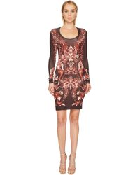 Just Cavalli - Plume Of Baroque Printed Long Sleeve Scoop Neck Dress - Lyst