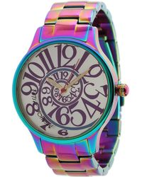 Betsey Johnson - Bj00040-11 Analog Rainbow Stainless Steel Case And Bracelet Watch - Lyst