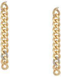Rebecca Minkoff Pave Links Linear Earrings - Metallic
