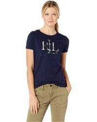 Lauren by Ralph Lauren - Plaid Applique Logo T-shirt (navy) Women's T Shirt - Lyst
