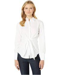 2d7ff707314f71 Lauren by Ralph Lauren - Tie-front Cotton Shirt (white) Women s Clothing -