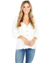 Sanctuary Modern Button Front Top Clothing - White