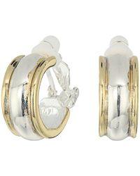 Lauren by Ralph Lauren - Back To Basics Ii Two-tone Wedding Band Clip Hoop Earrings - Lyst