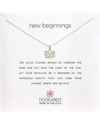 Dogeared New Beginnings Rising Lotus Necklace - Metallic