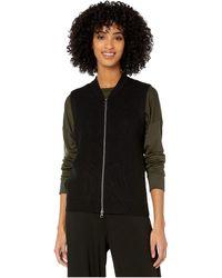 Eileen Fisher Merino Zip Vest - Black