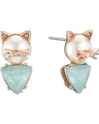 Betsey Johnson - Pearl Critters Cat Stud Earrings (pearl) Earring - Lyst