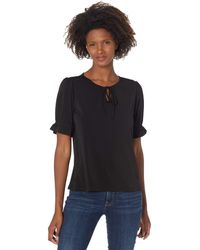 Cece Puff Sleeve Knit Top W/ Bow Clothing - Black