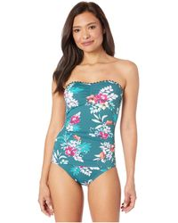 Tommy Bahama Floral Springs Shirred Bandeau One-piece - Blue