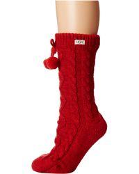 UGG Pom Pom Fleece Lined Crew Sock - Red