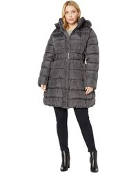 Via Spiga Plus Size 3/4 Belted Ruched Puffer - Metallic