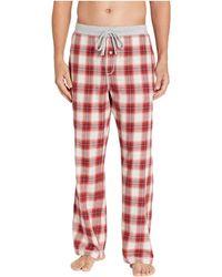 True Grit Shadow Plaid Flannel Pajama Pants With Heather Knit Trim (blue) Men's Pajama - Red