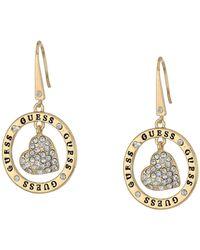 Guess Gold-tone Pavé Heart Logo Drop Hoop Earrings - Metallic