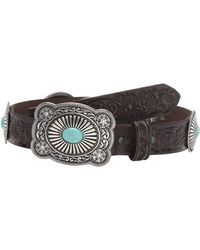 Ariat Embossed Turquoise Conchos Buckle Belt - Brown